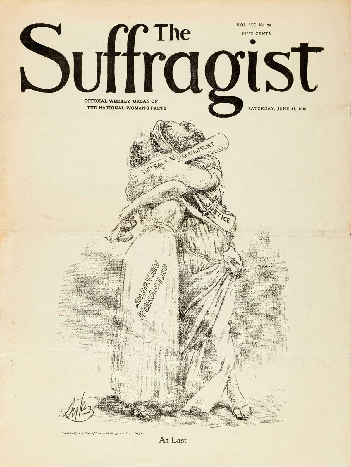 """""""At Last"""" illustration from The Suffragist dated June 21, 1919 published by the National Woman's Party, Washington, D.C. 