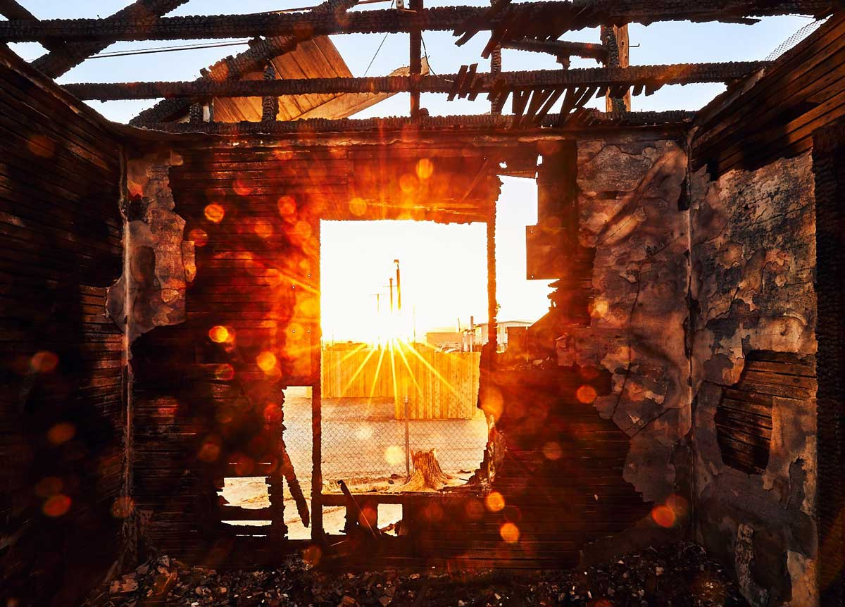 Window View from Charred House at 2223 Trinity St – Sunset – Mojave, CA – 2016 |  | Osceola Refetoff