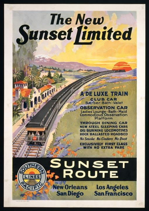 Promotional poster for the Sunset Limited railroad line, featuring California wildflowers