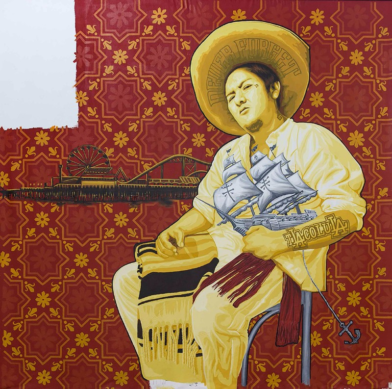"One panel of artist collective Tlacolulokos's ""Visualizing Language: Oaxaca in L.A."" 