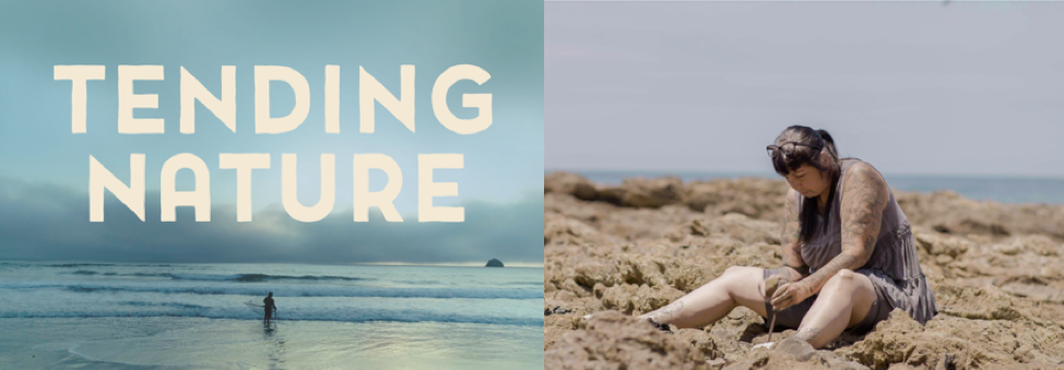 Tending Nature logo on photo of beach. Photo of woman sitting on rocks.
