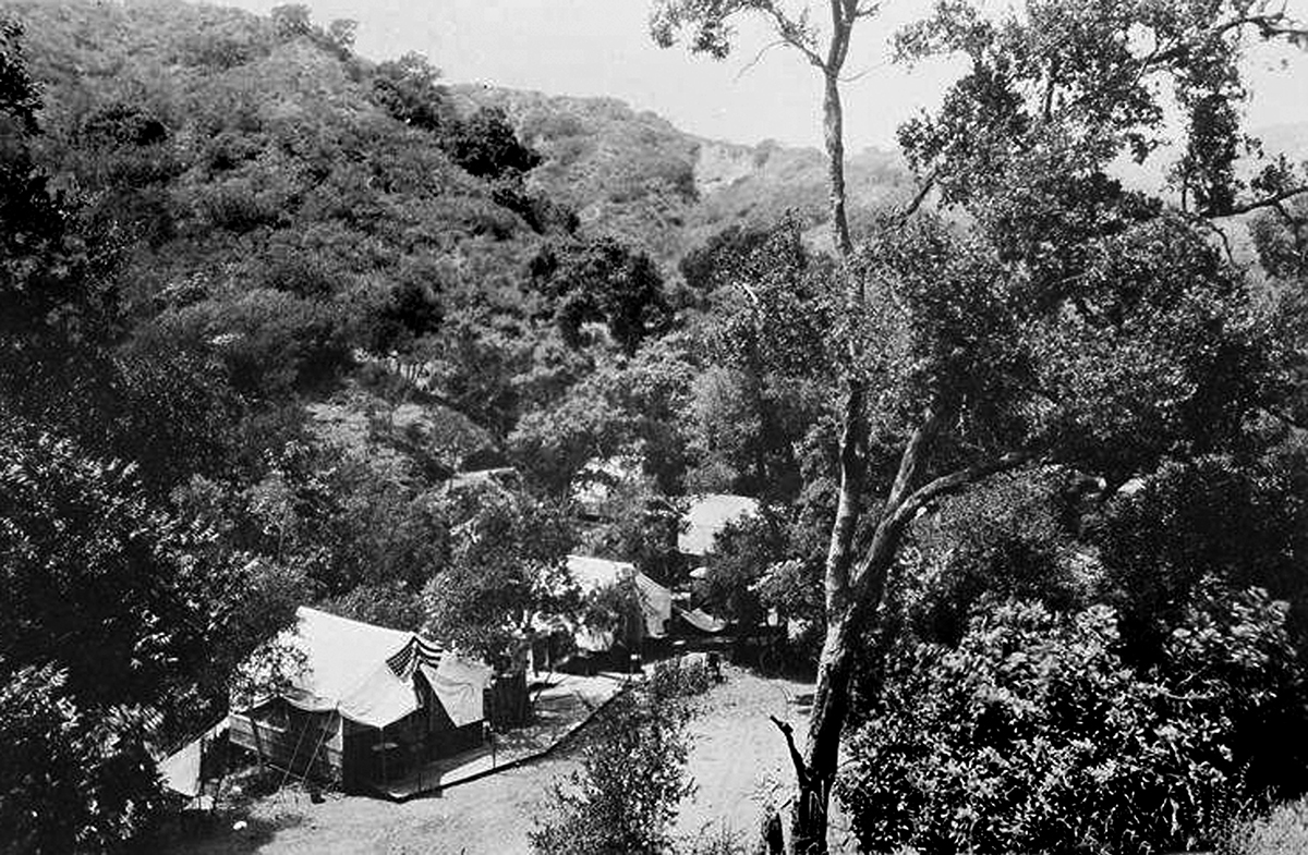 Tent city in Temescal Canyon