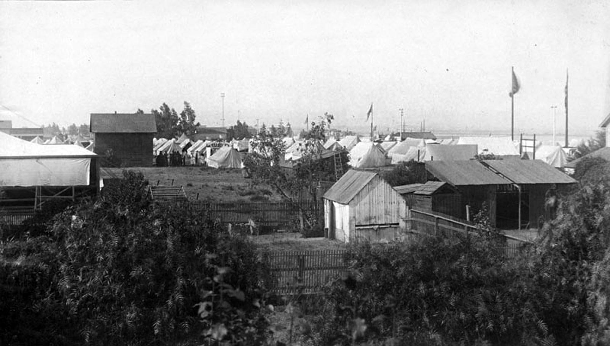 Tent encampment. Federal military units set up temporary encampments much like this one to suppress secessionists in Los Angeles and El Monte. Photograph courtesy of Security Pacific National Bank Collection, Los Angeles Public Library