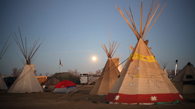 Tents and tipis at Standing Rock