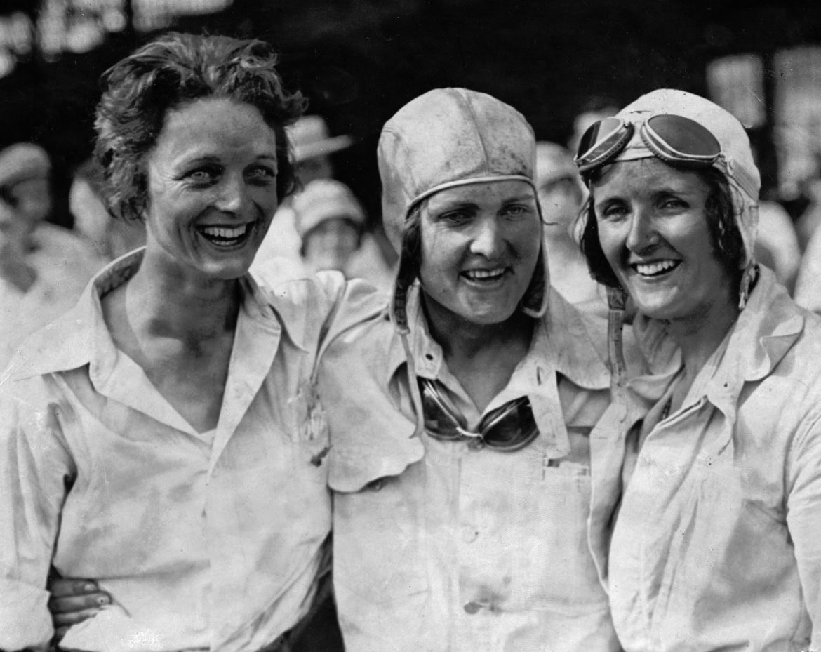 Louise Thaden, Gladys O'Connell and Ruth Nichols, pioneer female aviators during the first women's transcontinental air derby in 1929. Thaden won the race. | Courtesy of Saint Louis University Libraries.
