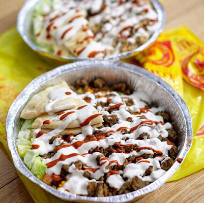"The Halal Guys Middle-Eastern dish slathered in ""white sauce"""