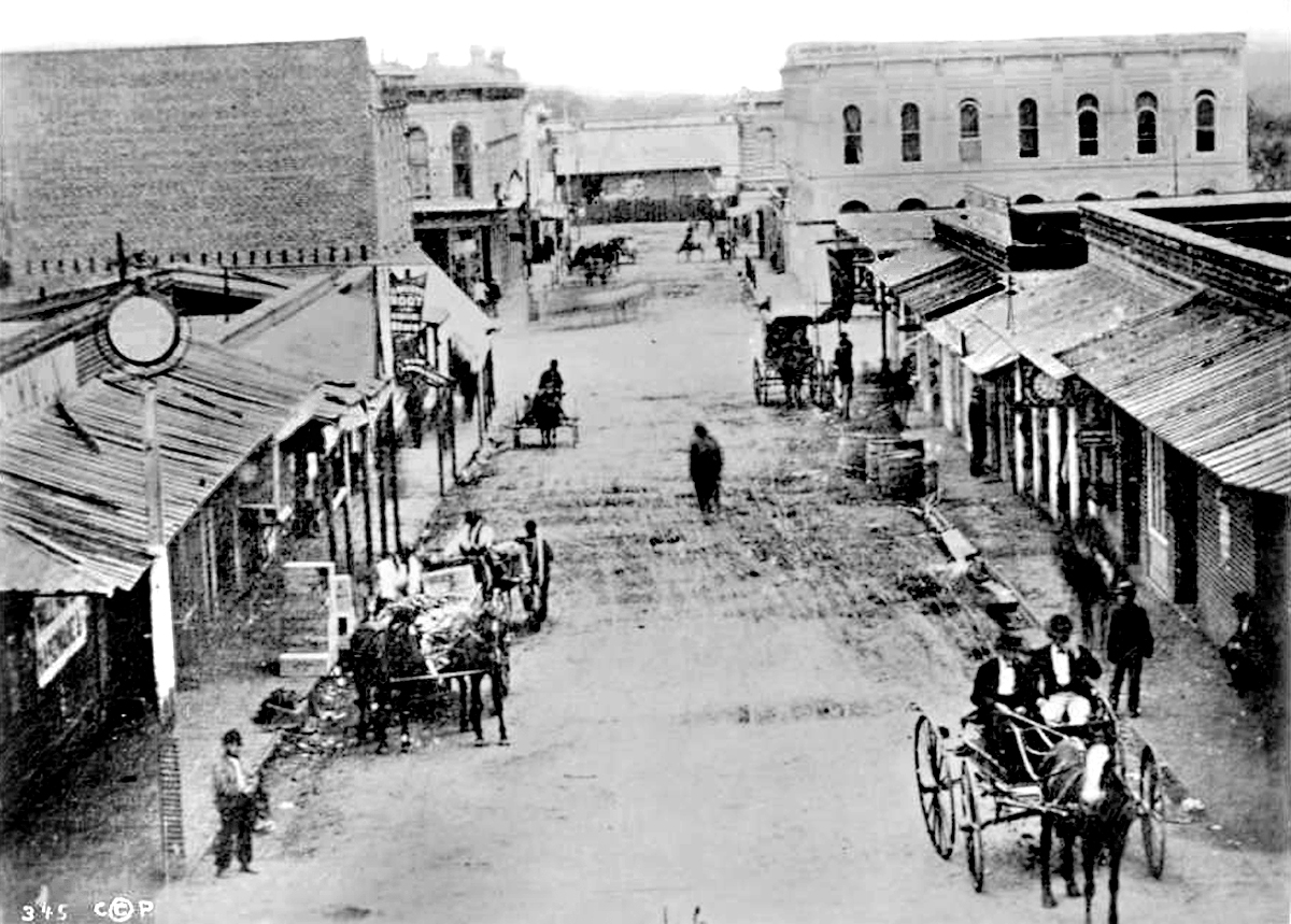 The intersection of Commercial Street (later Alameda Street) and Main Street, 1870