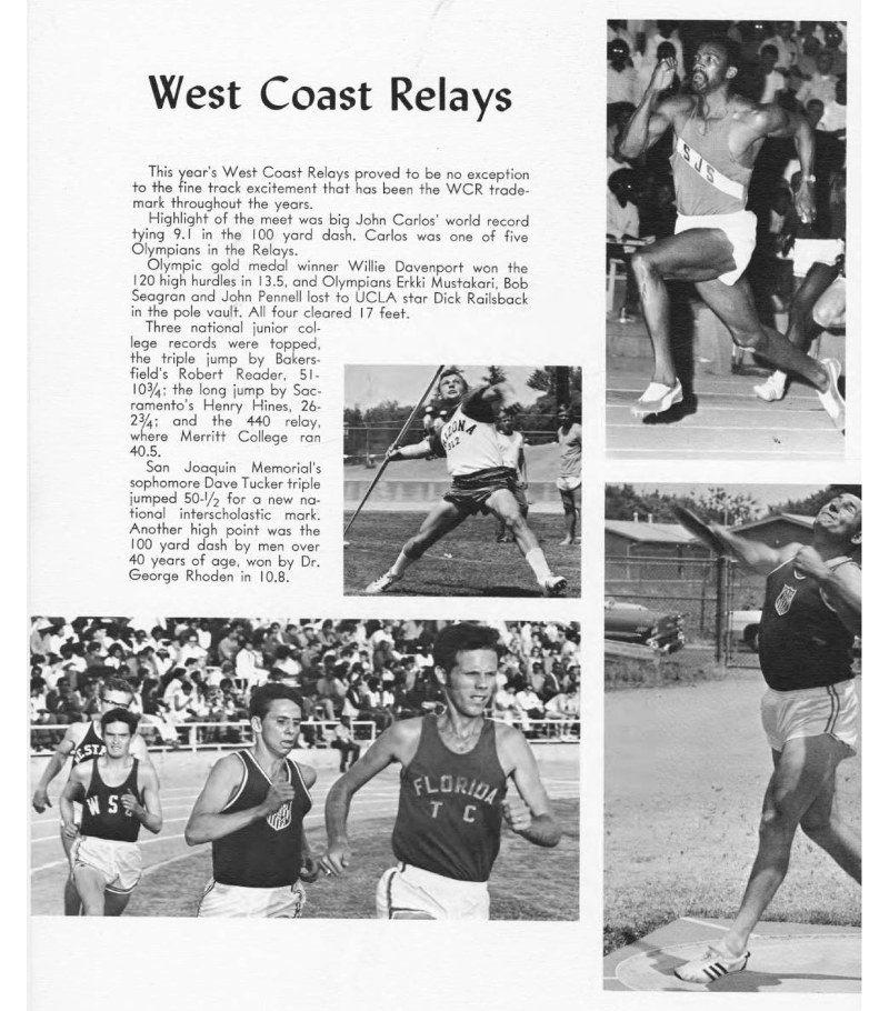 The West Coast Relays as documented in the 1969 Fresno State College yearbook
