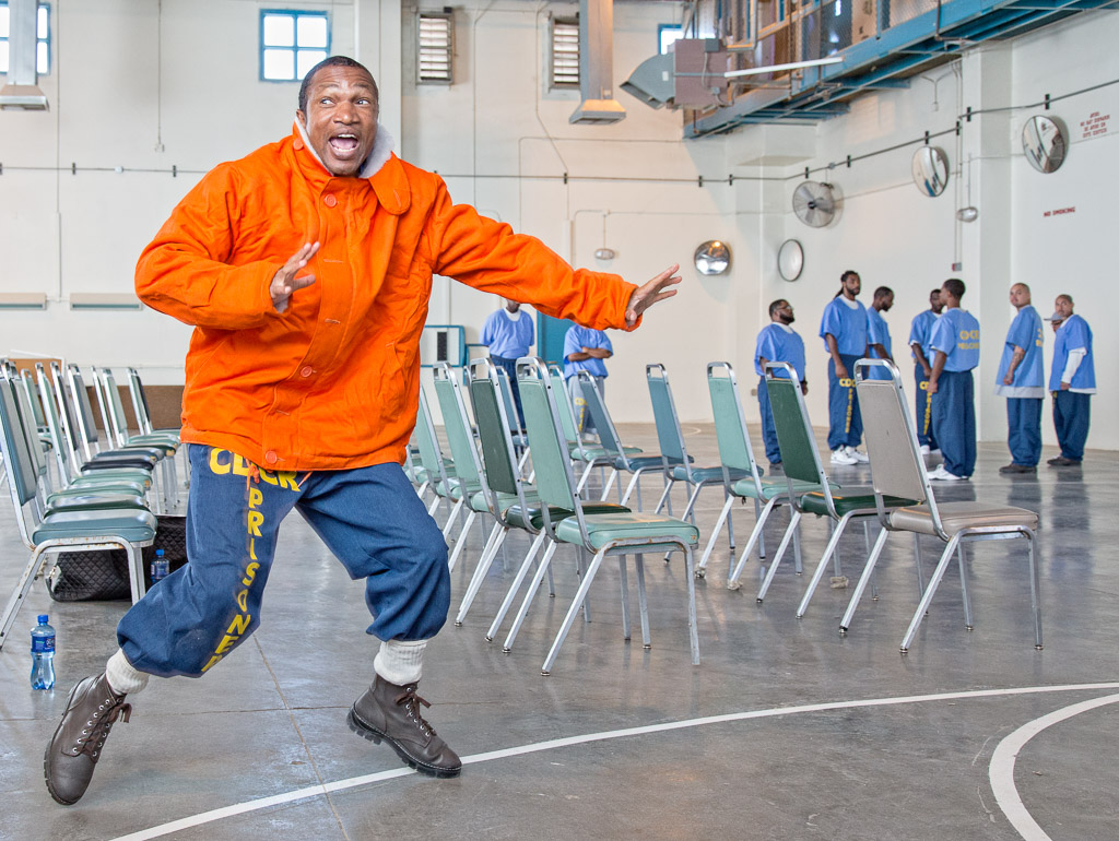 The Strindberg Laboratory theater company in Los Angeles conducts a theater workshop at California State Prison, Los Angeles County, in Lancaster