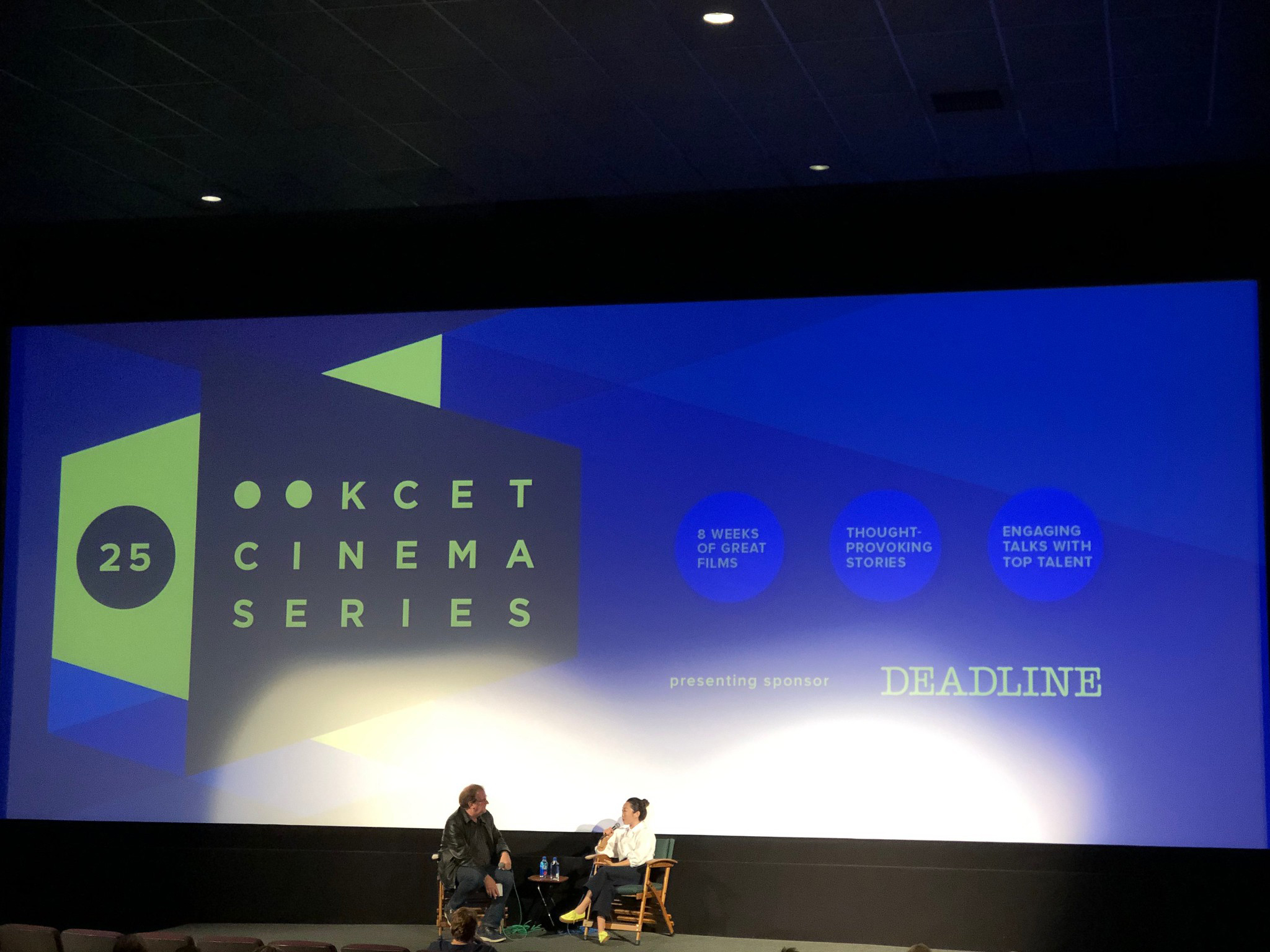 "Cinema Series host Pete Hammond and Writer/Director Lulu Wang participate in a Q&A discussion after a screening of ""The Farewell"""