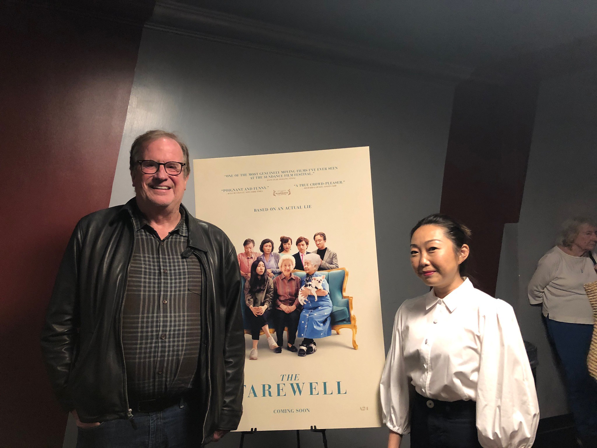 "Cinema Series host Pete Hammond with Writer/Director Lulu Wang after a screening of ""The Farewell"""