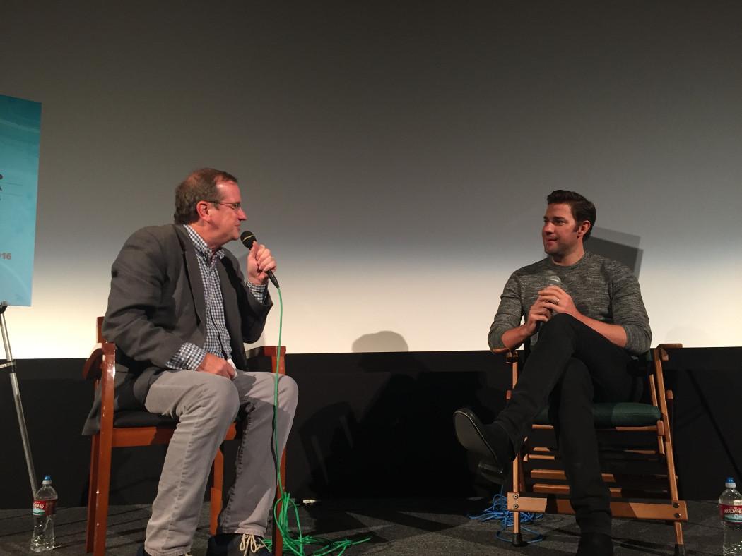 "Pete Hammond and John Krasinski talk about ""The Hollars."" | Photo: Liz Ohanesian."