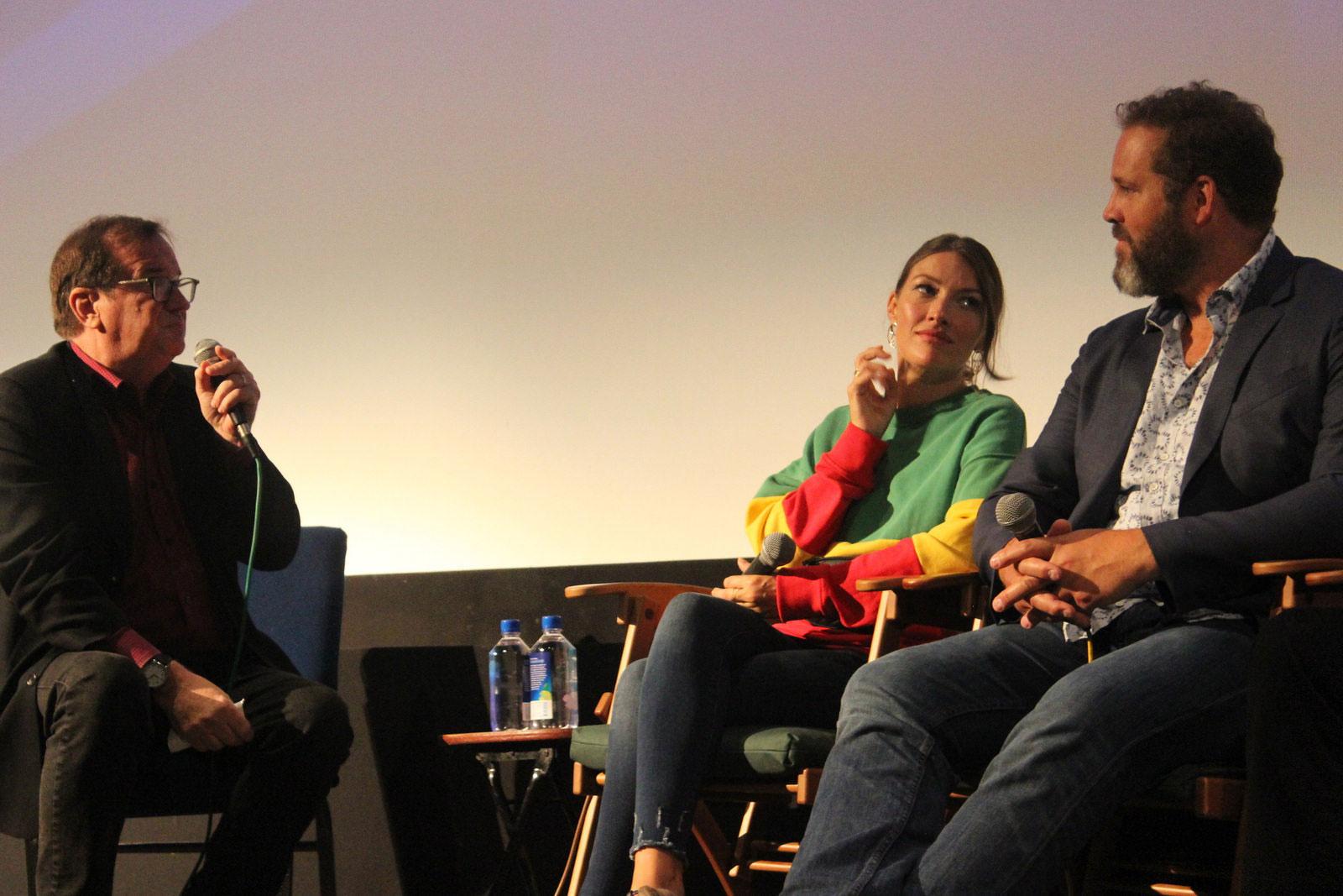 Cinema Series host Pete Hammond, Actress Kelly MacDonald and Actor David Denman