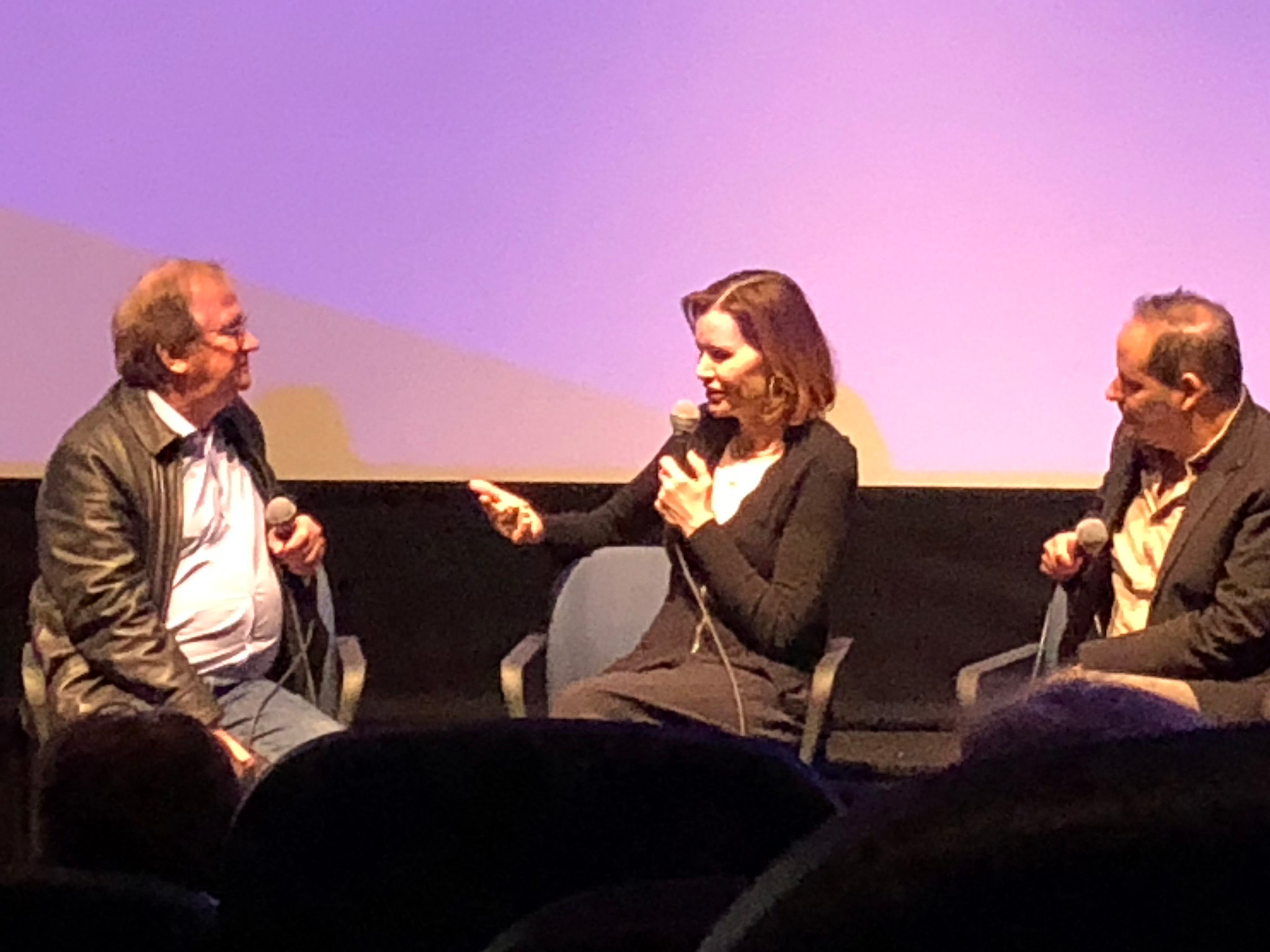 """Cinema Series host Pete Hammond, Actor/Executive Producer Geena Davis and Director Tom Donahue participate in a Q&A after a screening of """"This Changes Everything"""""""