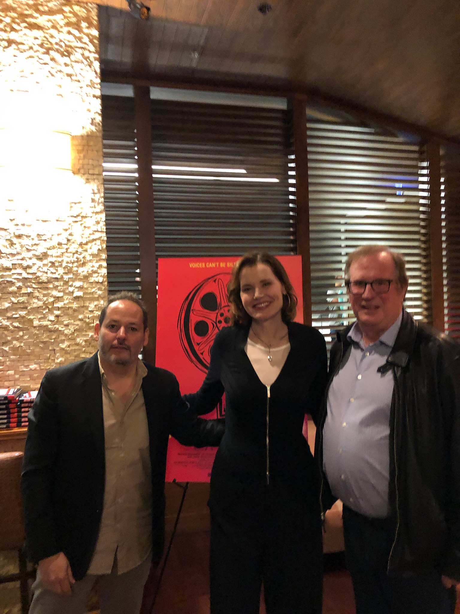 """Director Tom Donahue, Actor/Executive Producer Geena Davis and Cinema Series host Pete Hammond after a screening of """"This Changes Everything"""""""