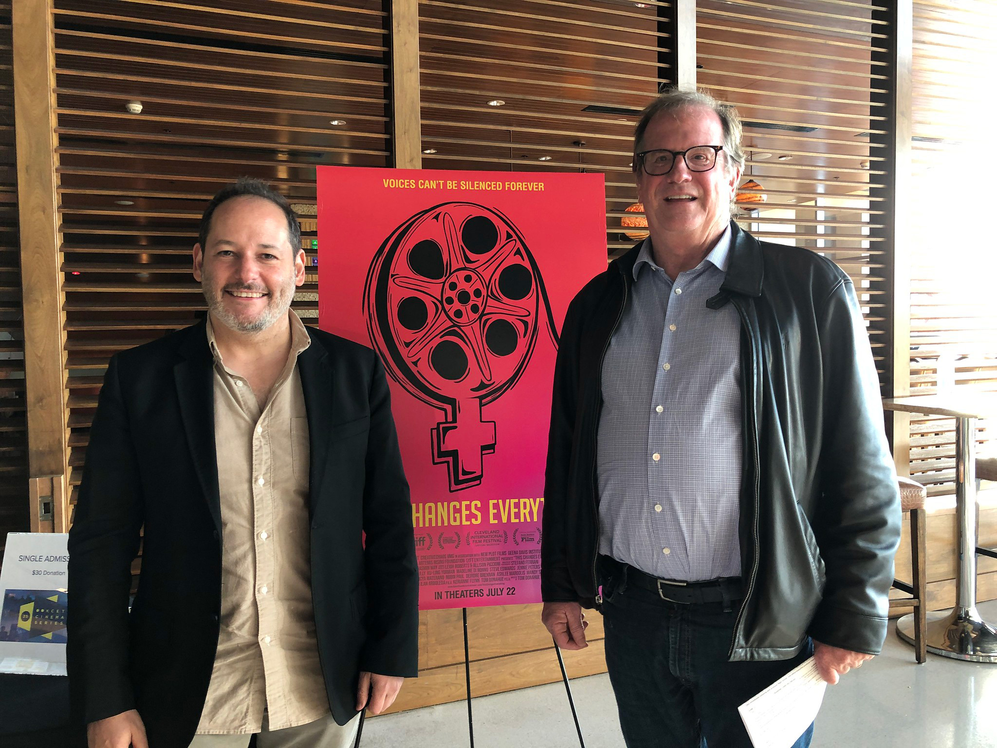 """Cinema Series host Pete Hammond with Director Tom Donahue after a screening of """"This Changes Everything"""""""