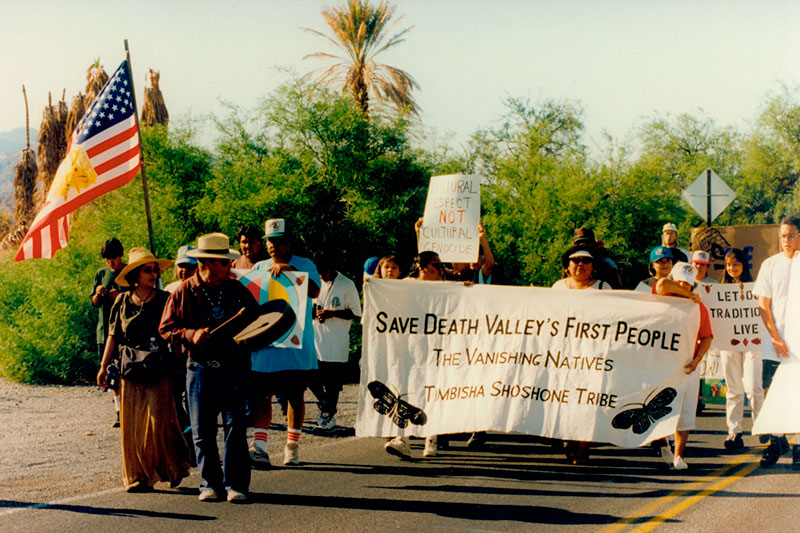 Demonstration for Timbisha Shoshone homeland restoration, May 26, 1996. | Photo: Courtesy of Death Valley National Park Archives.