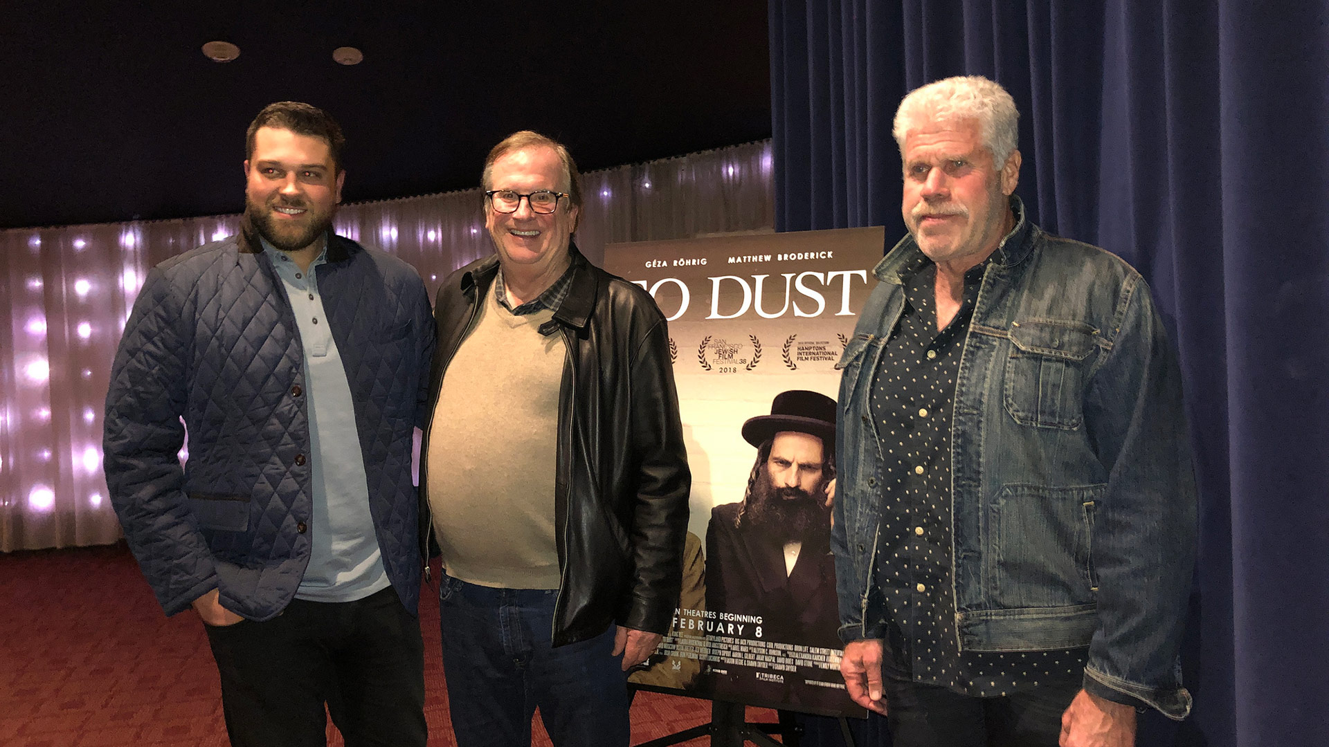 "Producer Josh Crook with Cinema Series host Pete Hammond and Actor/Producer Ron Perlman after a screening of ""To Dust"""