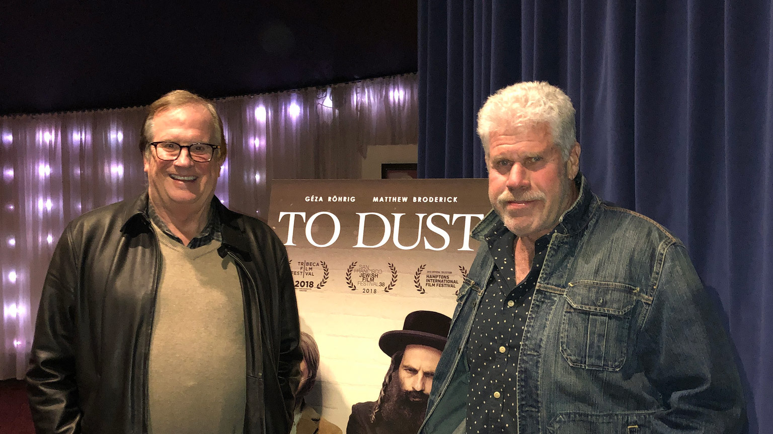 "Cinema Series host Pete Hammond and Actor/Producer Ron Perlman after a screening of ""To Dust"""