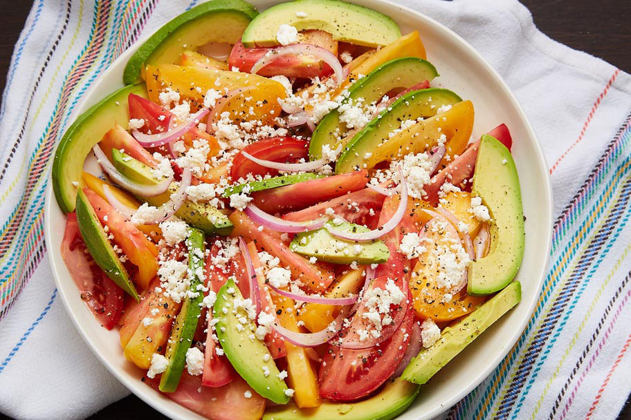 tomato and avocado salad with queso fresco