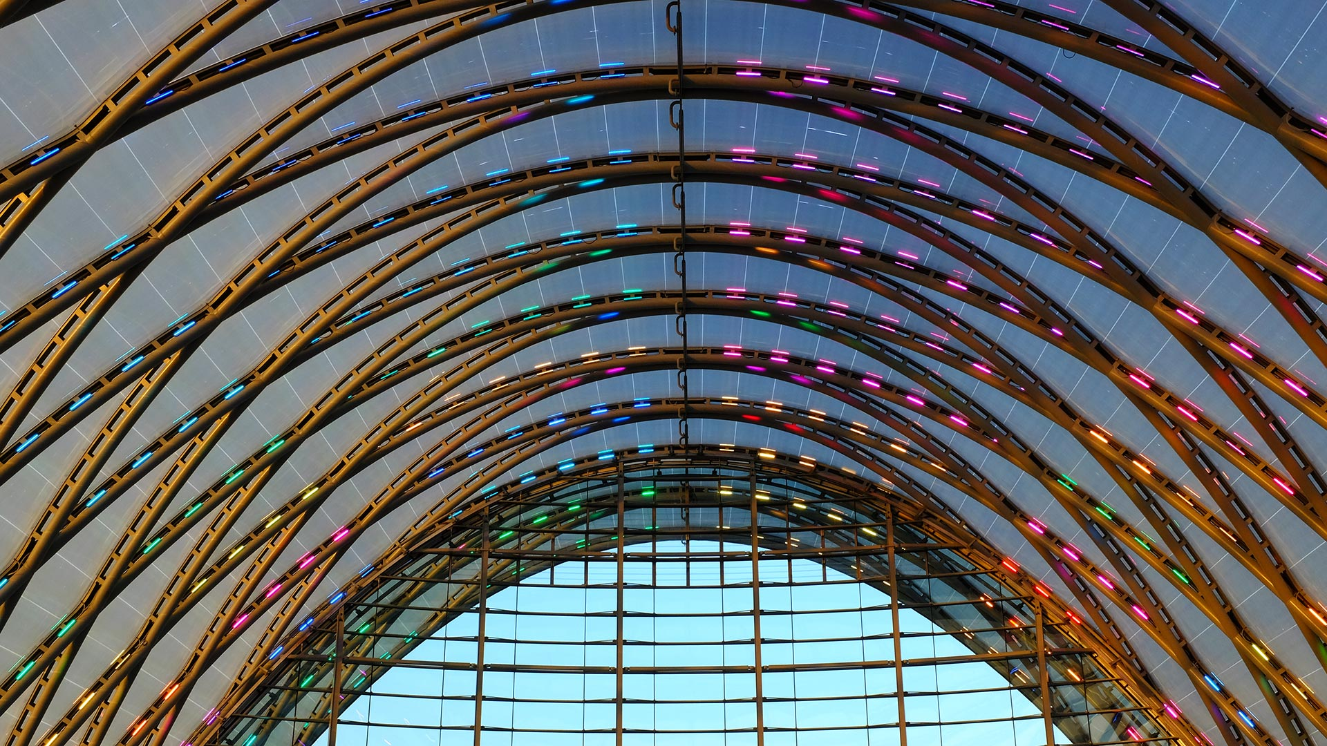 Lights glow up in the evening at the Anaheim Regional Transportation Intermodal Center.