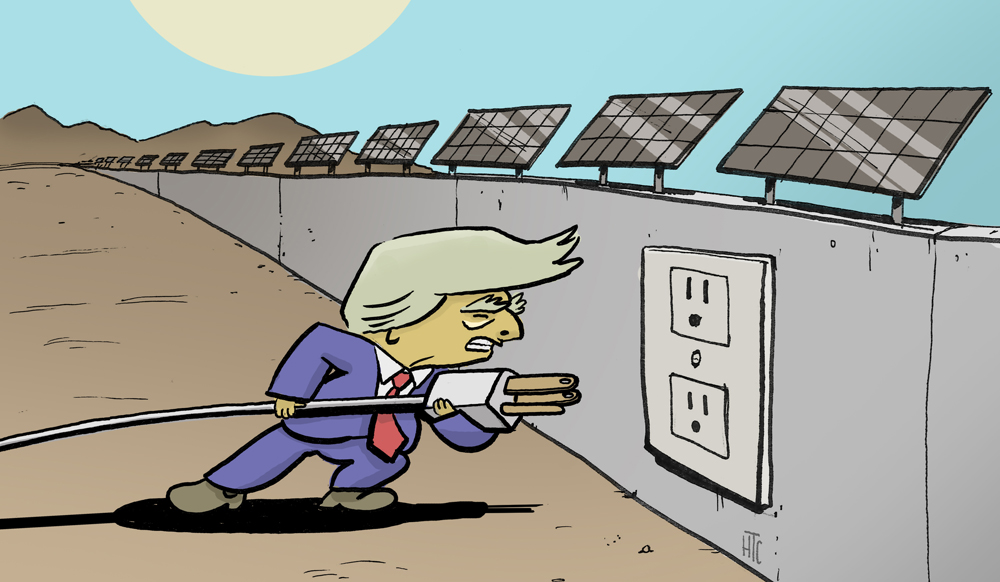 Donald Trump plugging into a Solar Border Wall | Artwork: Henry Cram/KCET