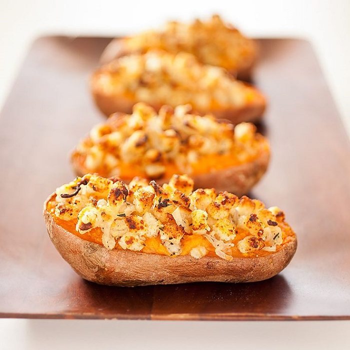 Twice-Baked Sweet Potatoes With Shallot And Parmesan Topping