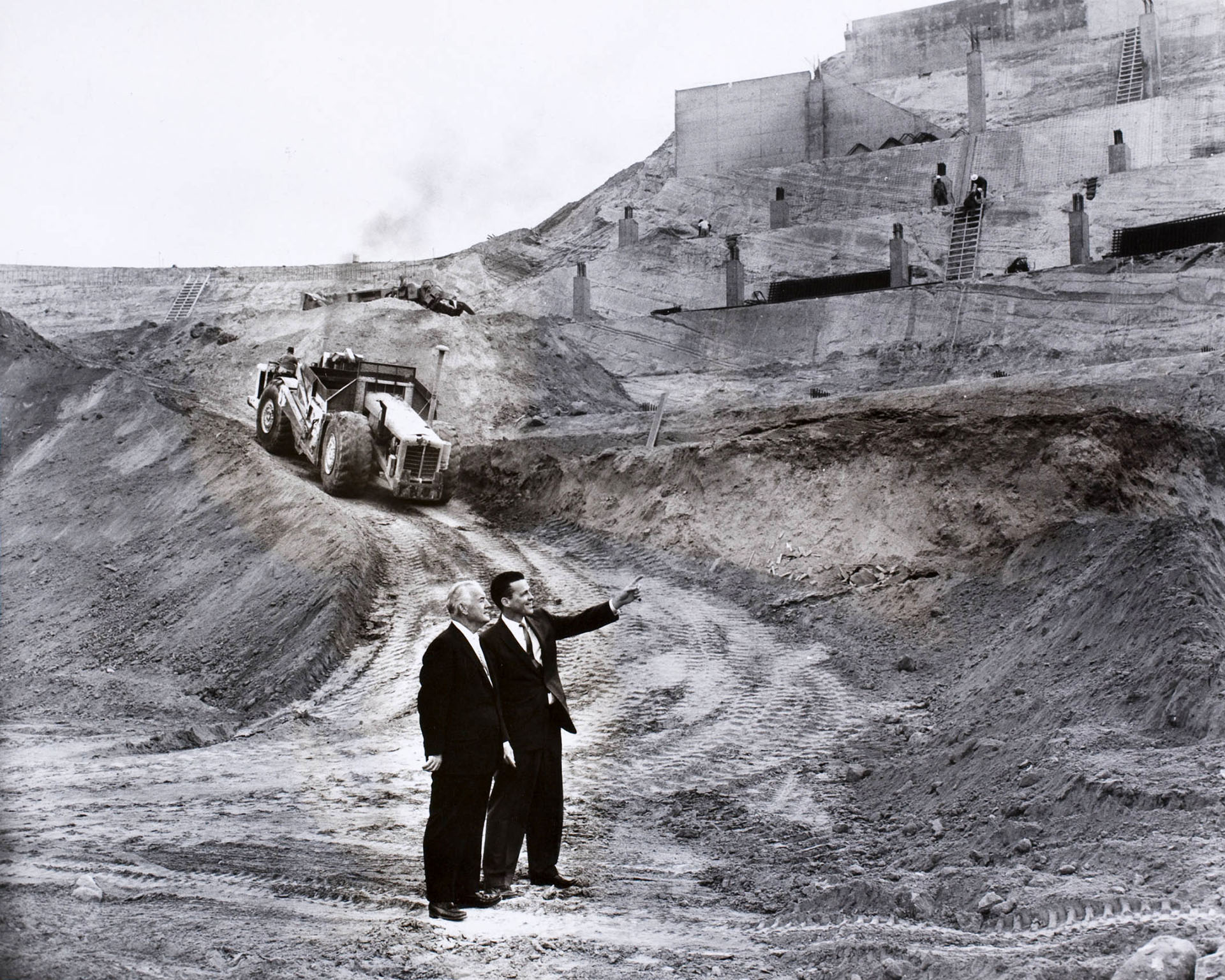 Fresco Thompson and Dick Walsh (L to R) at the Dodgers Stadium construction site in Chavez Ravine, Los Angeles