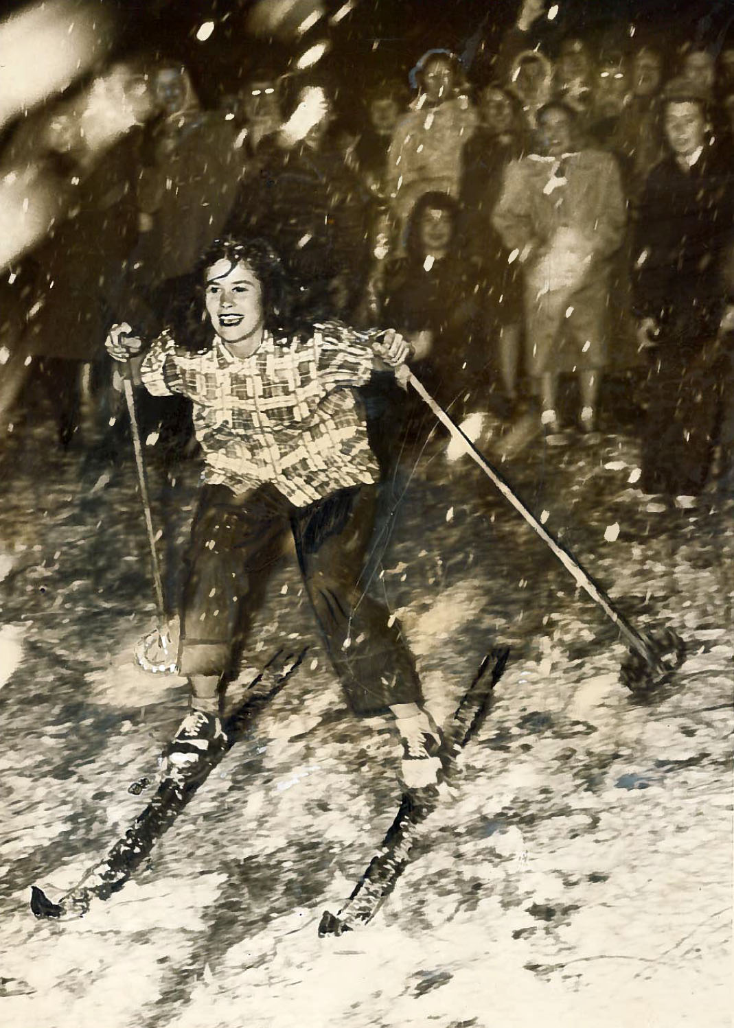Skiing on the UCLA campus during the 1949 snowstorm