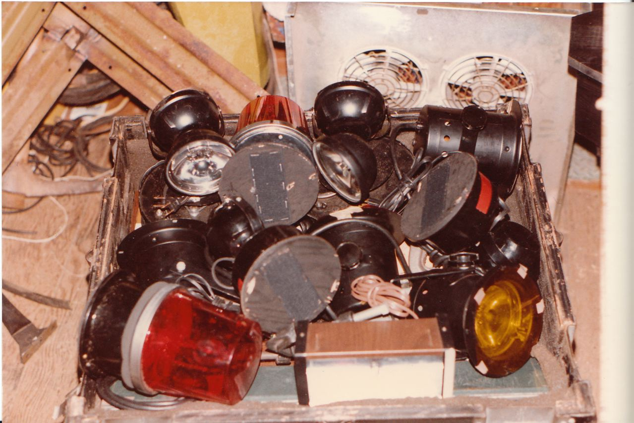 One of the many lighting cases which contained oscillators, small beacons, rainlights, and strobes.