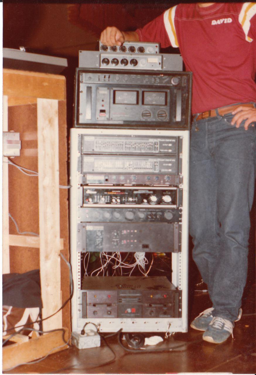 Rack with amp, mixers, EQ