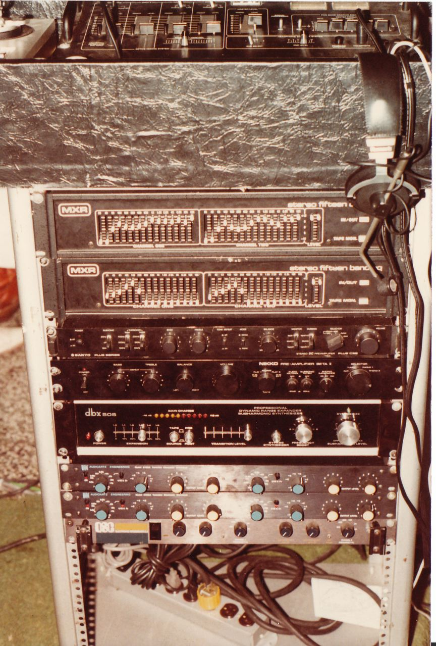 Updated rack with EQ, crossover, DBX, QSC