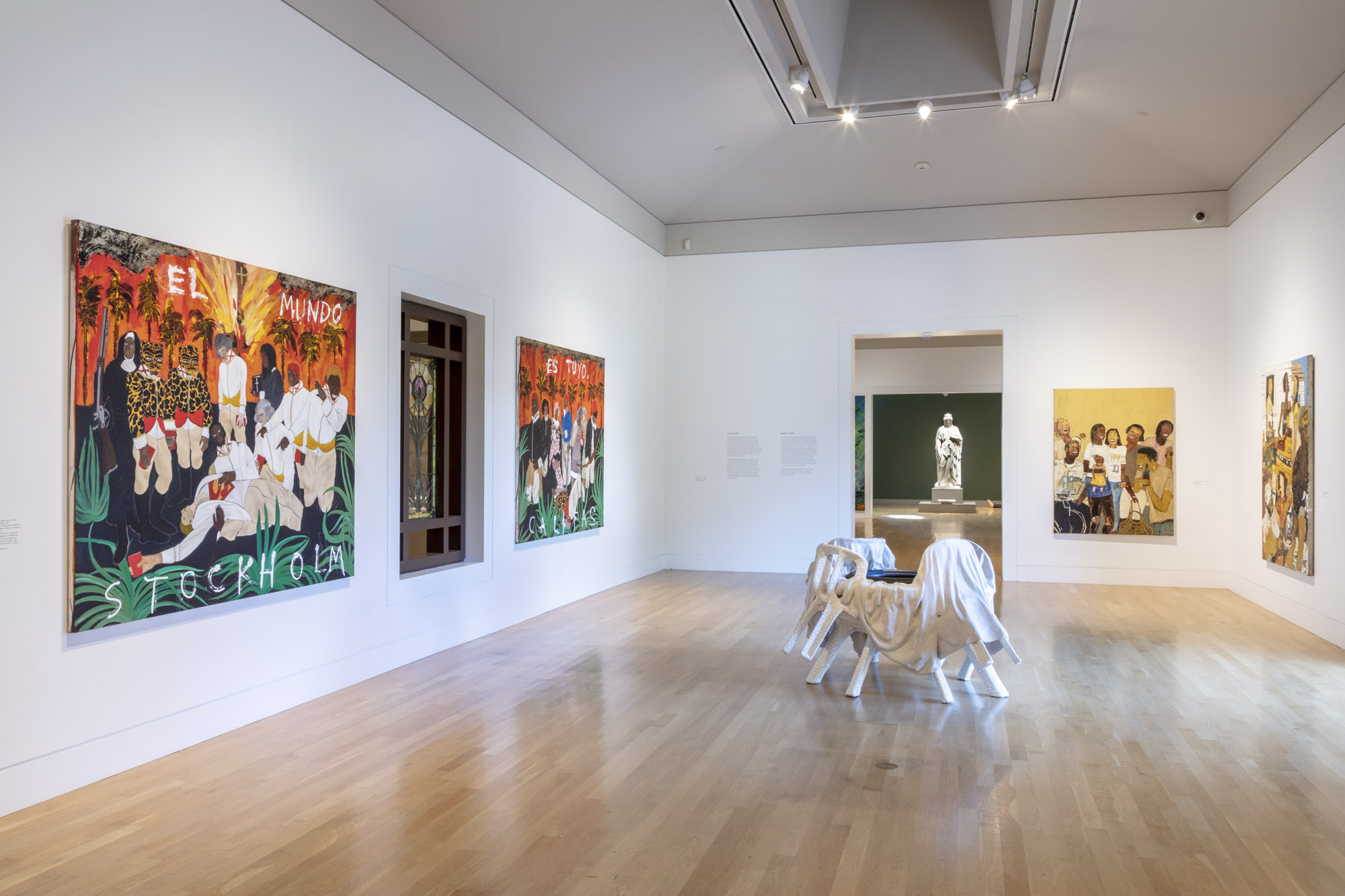 """An installation view of Umar Rashid's work at """"Made in L.A. 2020: a version"""" at The Huntington Library, Art Museum, and Botanical Gardens, San Marino. 