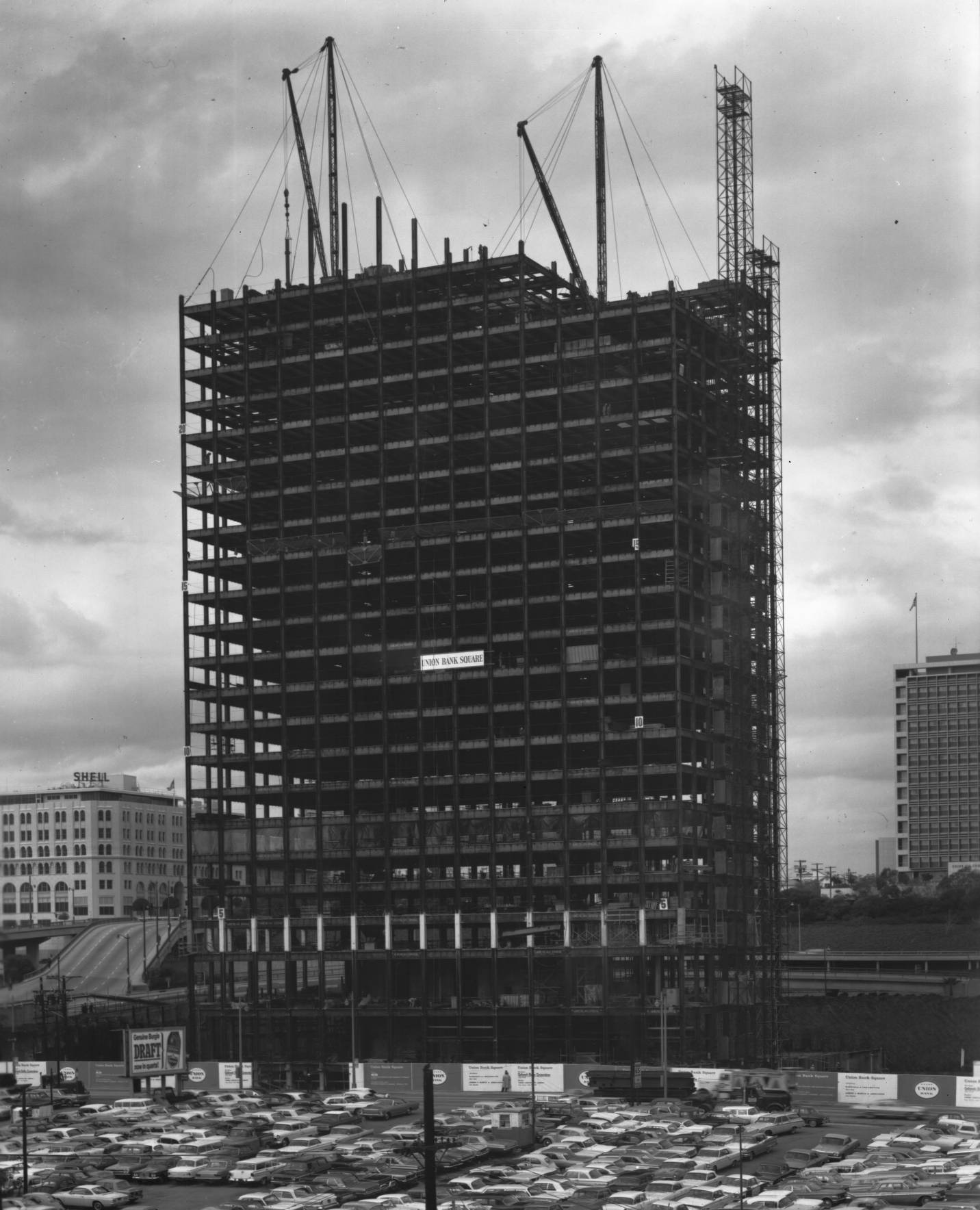 Union Bank Square under construction, circa 1966