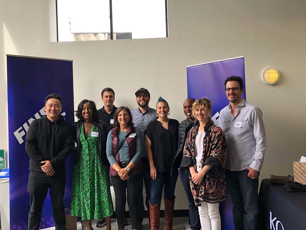 "Some of the mentors at the ""Fine Cut Student Workshop."" L-R: Weiko Lin, Melissa Haizlip, Brendan Burch, Jill Gilbert, Matt Rudenberg, Monica Lago-Kaytis, Emily Mraz, Chester Goodson and Adam Finberg"