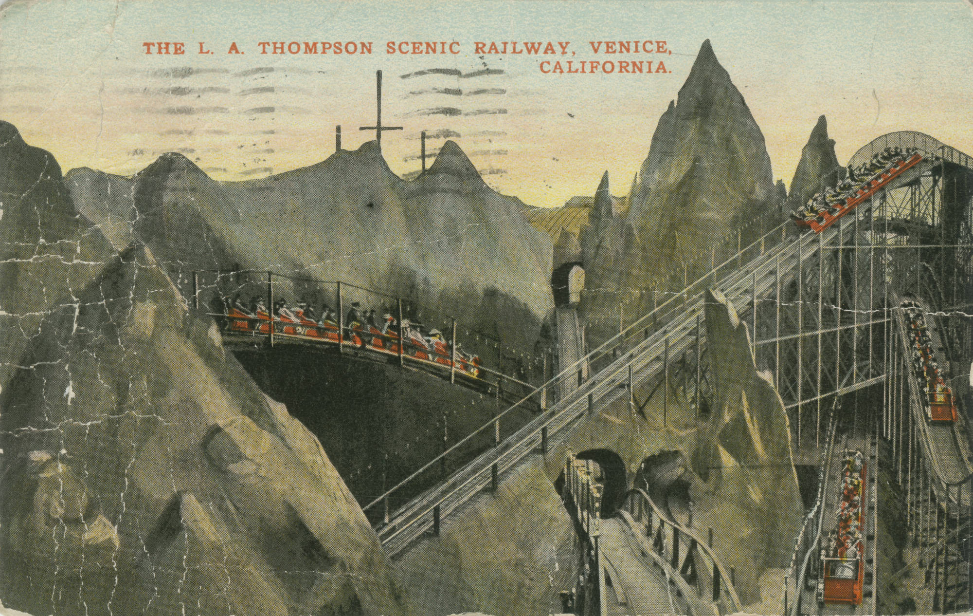 Postcard of the L. A. Thompson Scenic Railway