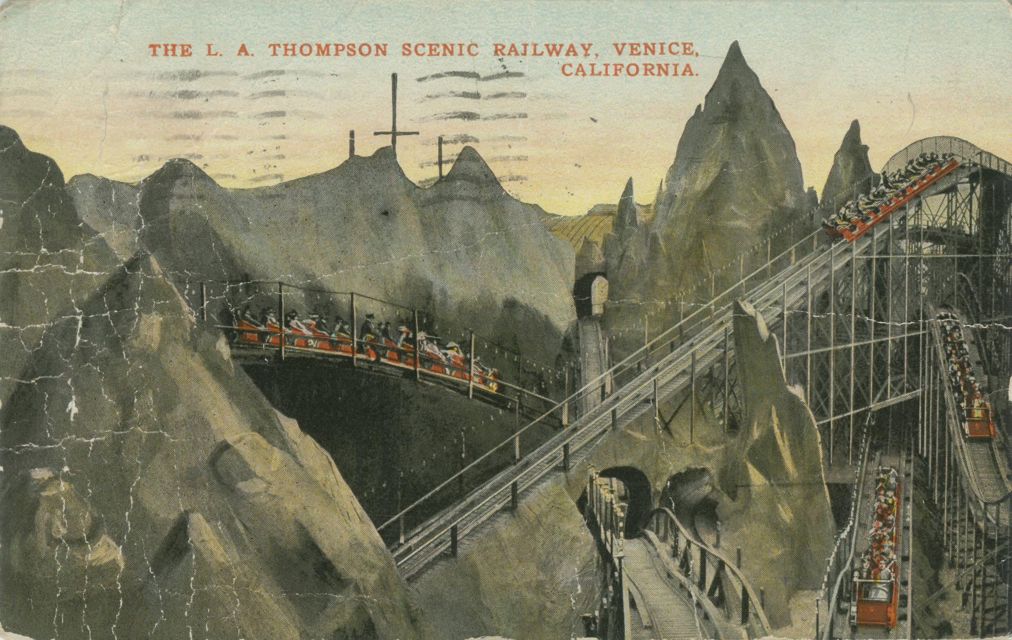 Postcard of the L. A. Thompson Scenic Railway