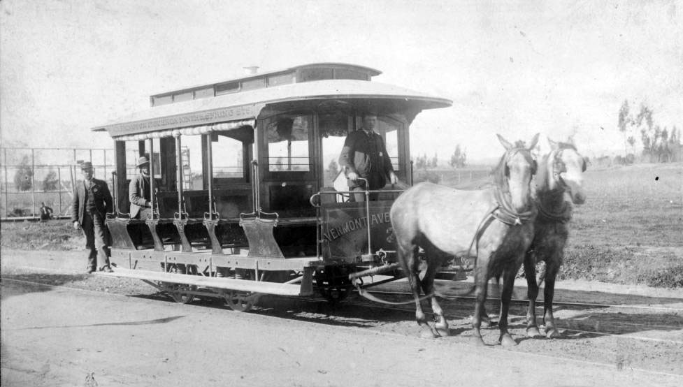 Before and Andrew Halladie's cable-car technology and later electric motors replaced them, horses powered Los Angeles' earliest public transit vehicles. Courtesy of the USC Libraries - California Historical Society Collection.