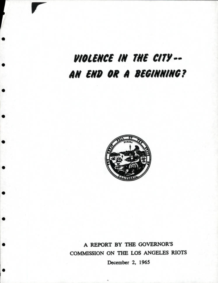 Violence in the City, cover, 1965.   Los Angeles Webster Commission records, 1931-1992, USC Digital Libraries