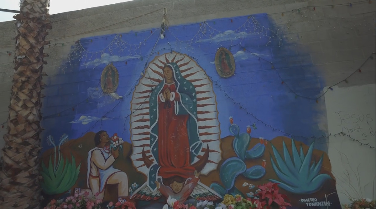 Virgen de Guadalupe mural shrine