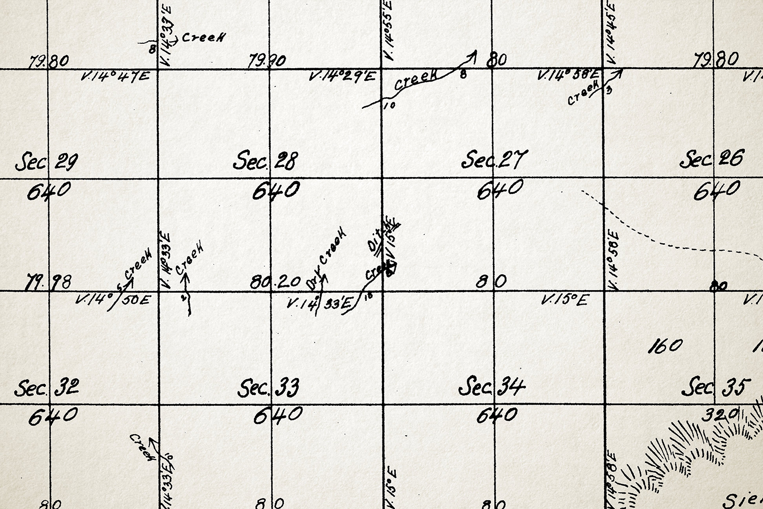 "Detail of land survey map depicting ""Indian ditches,"" W. Von Schmidt (1855)"