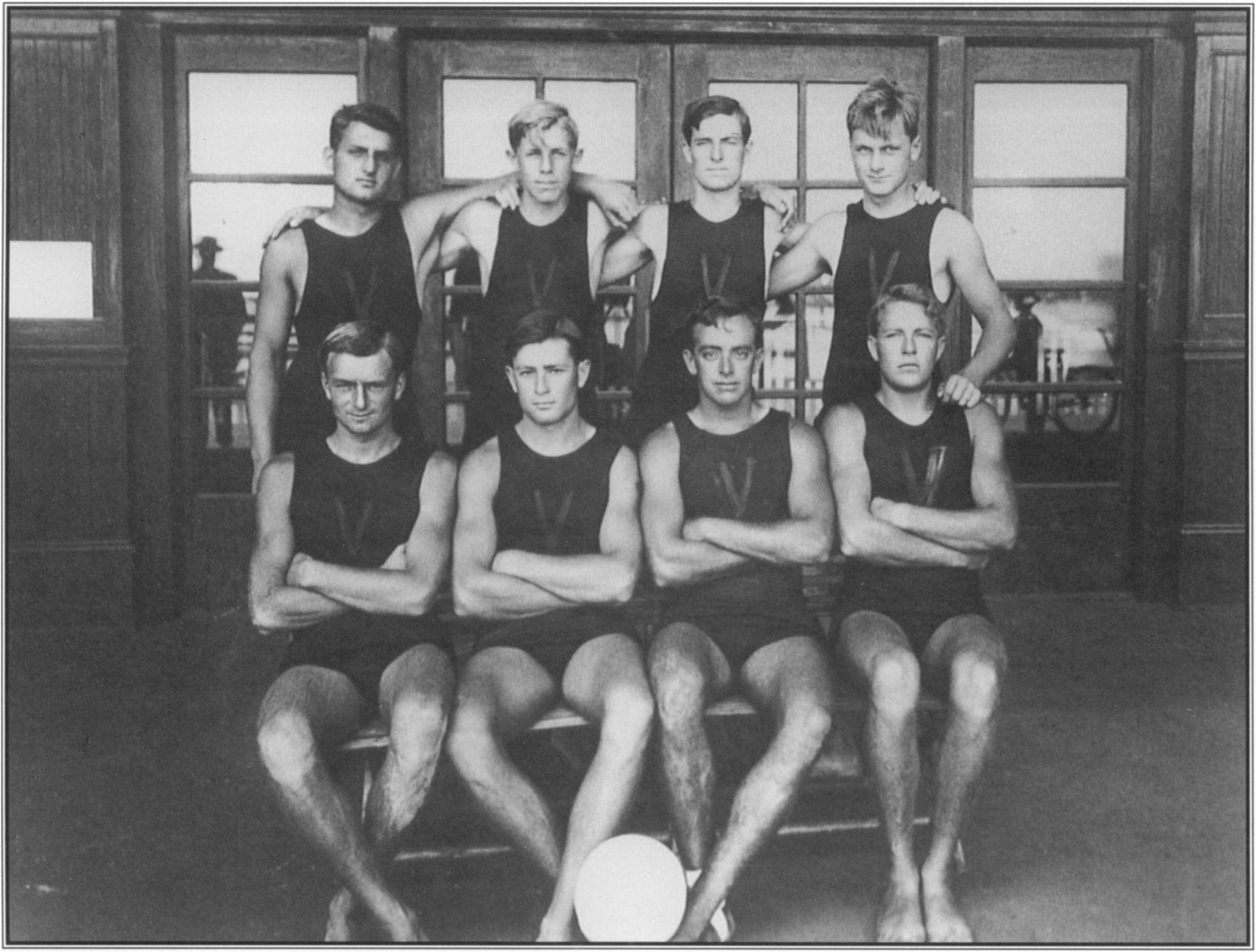 George Freeth encouraged the playing of water polo to condition members of the Venice Volun­ teer Lifesaving Corps for the rigors of ocean swimming.
