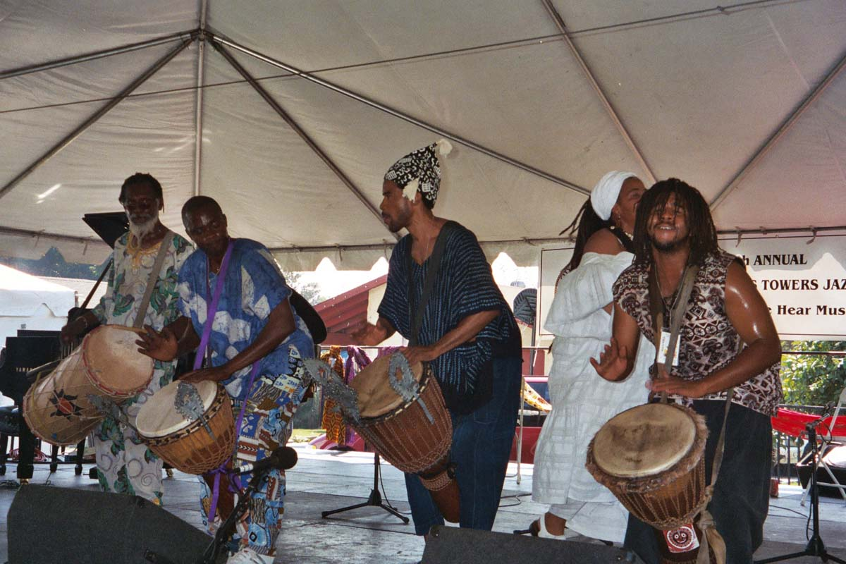 Several drummers perform at the Day of the Drum Festival at the Watts Towers Arts Center. | Courtesy of Watts Towers Art Center