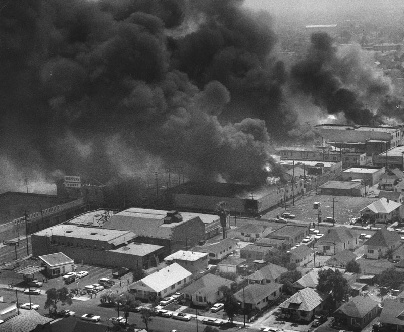Several Buildings on Fire during Watts Riots