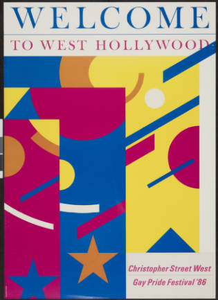 Welcome to West Hollywood: Christopher Street West gay pride festival '86, poster.   Marion Sampler, Christopher Street West/Los Angeles, ONE National Gay and Lesbian Archives, USC Libraries
