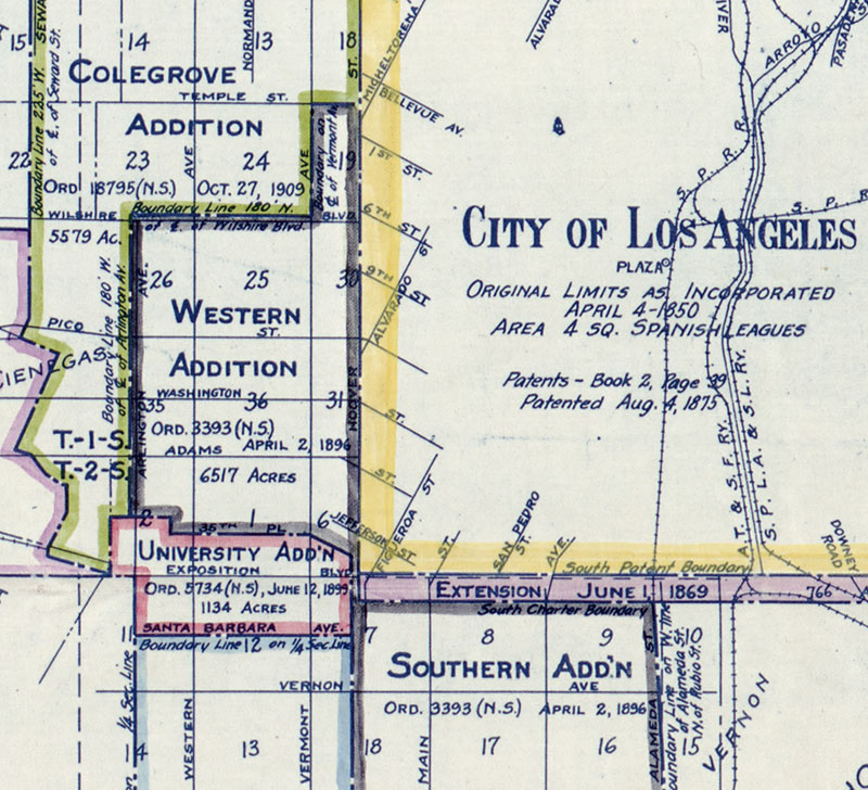 As this 1916 map shows, Western Avenue never marked L.A.'s legal western boundary. Map by Homer Hamlin, courtesy of the Library of Congress.