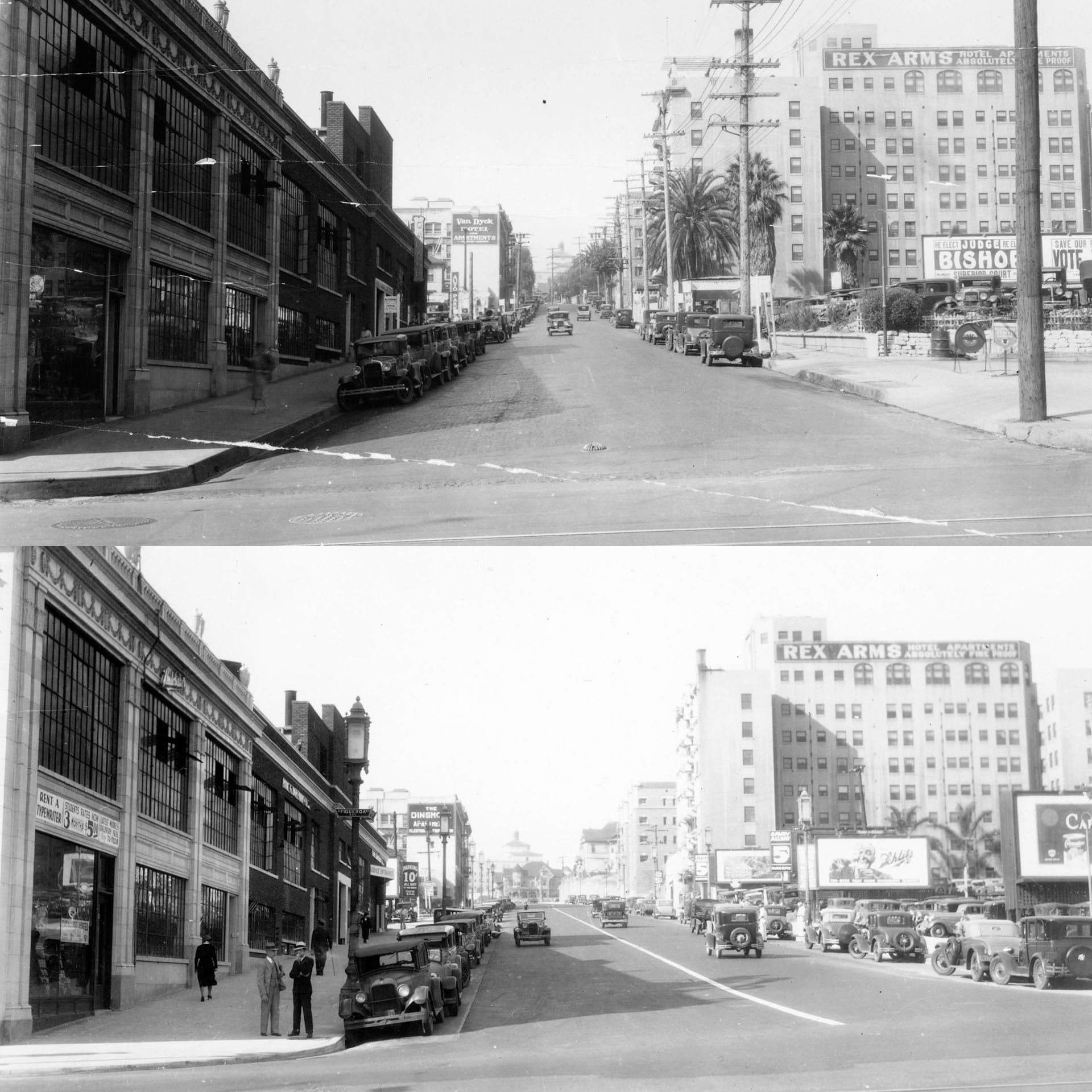 Widening Wilshire at Figueroa (before/after)
