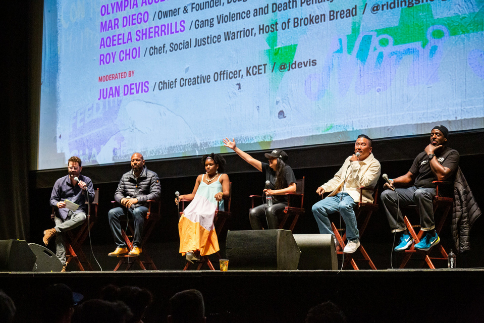 Panelists included KCET's Chief Creative Officer Juan Devis, Gang Violence Activist Aqeela Sherrills, SUPRMARKT Founder Olympia Auset, Dough Girl Owner Mar Diego, BROKEN BREAD Host and Chef Roy Choi (Kogi BBQ, Best Friend) and Gangsta Ron Finley