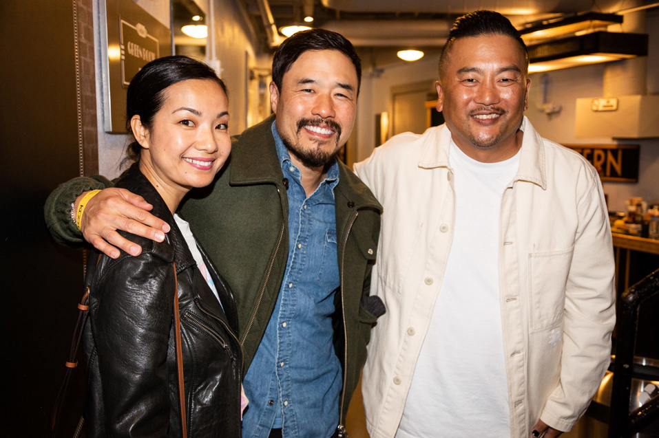 Actress Jae Suh Park (Friends From College) and Actor Randall Park (Fresh Off the Boat, Always Be My Maybe) with Chef and Host Roy Choi (Kogi BBQ, Best Friend