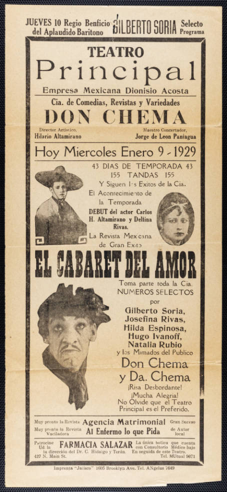 Broadside for Teatro Principal, Los Angeles, printed at Jalisco Print Shop, Boyle Heights, 1929 January 09. | University of Southern California Libraries, Workman and Temple Family Homestead Museum Collection, 1830-1930